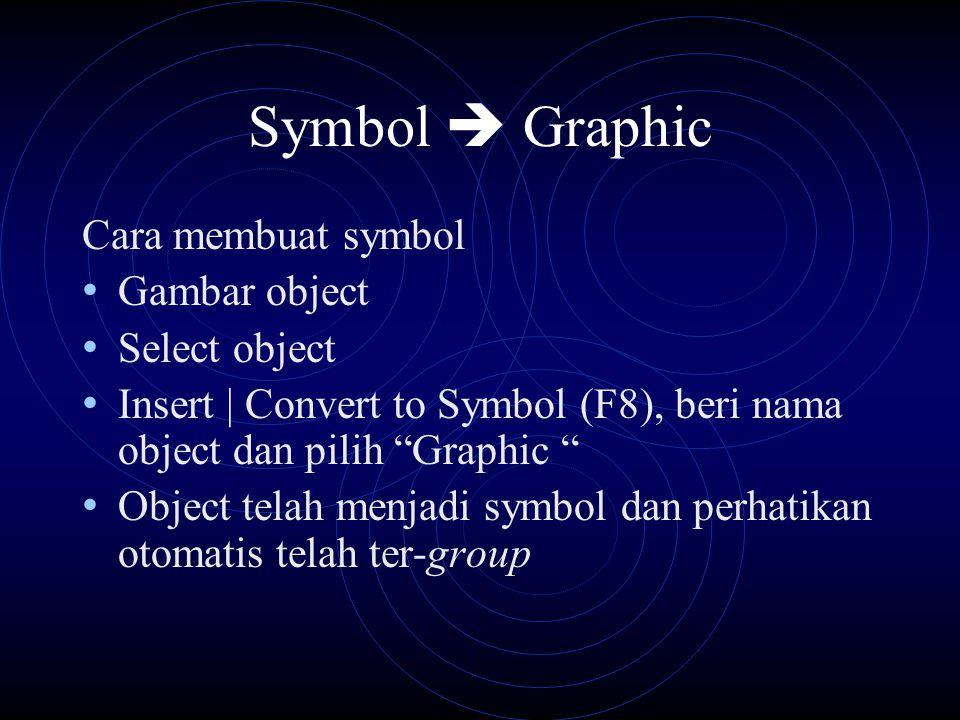 Symbol  Graphic Cara membuat symbol Gambar object Select object Insert | Convert to Symbol (F8), beri nama object dan pilih Graphic Object telah menjadi symbol dan perhatikan otomatis telah ter-group