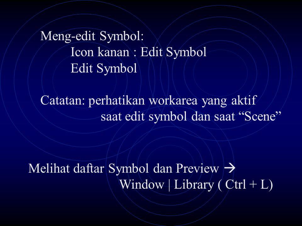 Meng-edit Symbol: Icon kanan : Edit Symbol Edit Symbol Catatan: perhatikan workarea yang aktif saat edit symbol dan saat Scene Melihat daftar Symbol dan Preview  Window | Library ( Ctrl + L)