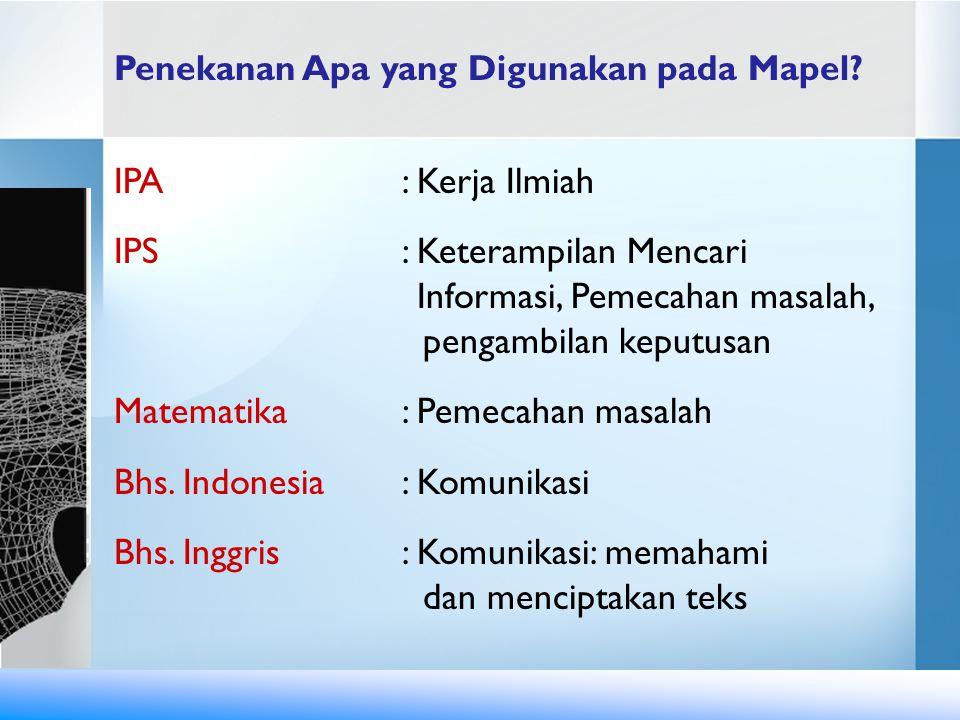 Penekanan Apa yang Digunakan pada Mapel? IPA : Kerja Ilmiah IPS : Keterampilan Mencari Informasi, Pemecahan masalah, pengambilan keputusan Matematika: