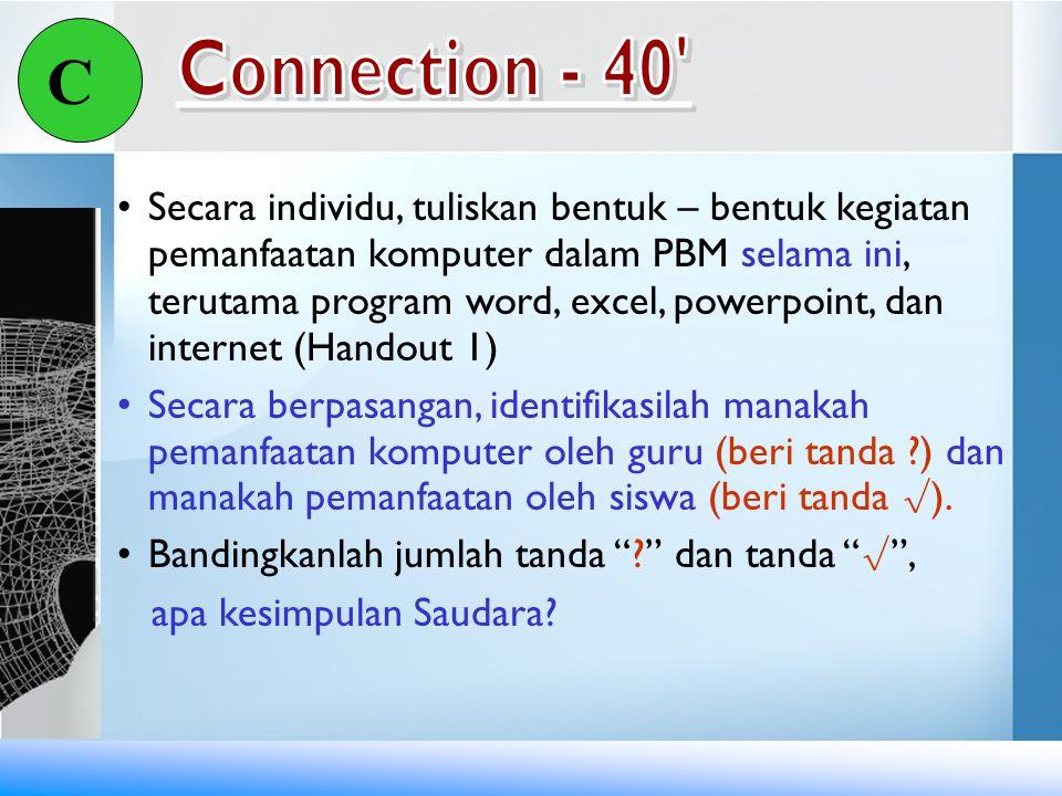 C Secara individu, tuliskan bentuk – bentuk kegiatan pemanfaatan komputer dalam PBM selama ini, terutama program word, excel, powerpoint, dan internet