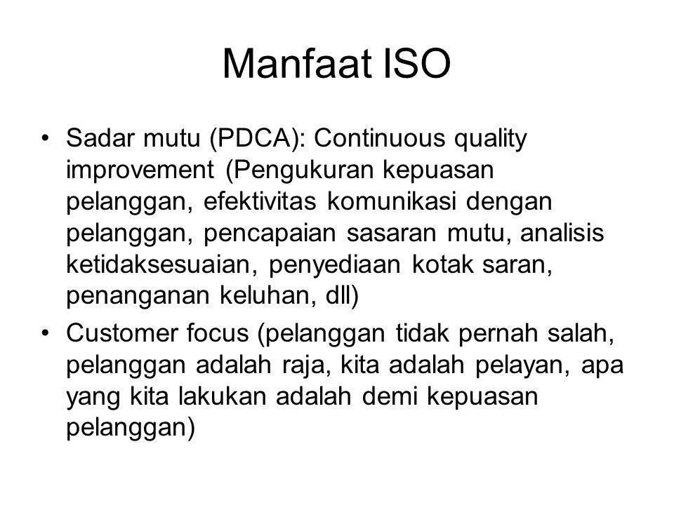 Manfaat ISO Sadar mutu (PDCA): Continuous quality improvement (Pengukuran kepuasan pelanggan, efektivitas komunikasi dengan pelanggan, pencapaian sasaran mutu, analisis ketidaksesuaian, penyediaan kotak saran, penanganan keluhan, dll) Customer focus (pelanggan tidak pernah salah, pelanggan adalah raja, kita adalah pelayan, apa yang kita lakukan adalah demi kepuasan pelanggan)
