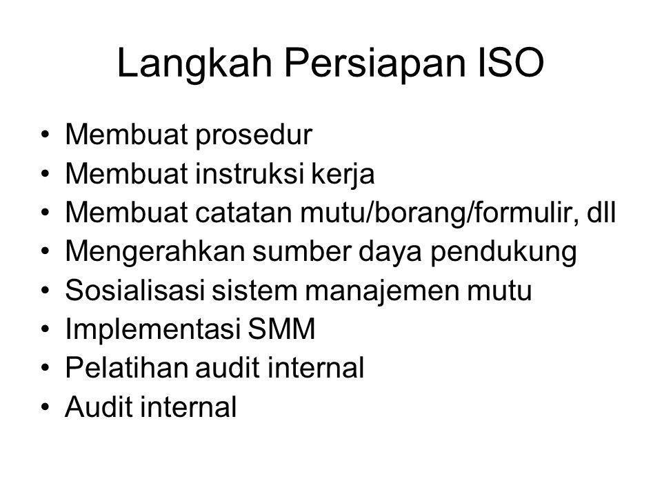 Langkah Persiapan ISO Membuat prosedur Membuat instruksi kerja Membuat catatan mutu/borang/formulir, dll Mengerahkan sumber daya pendukung Sosialisasi
