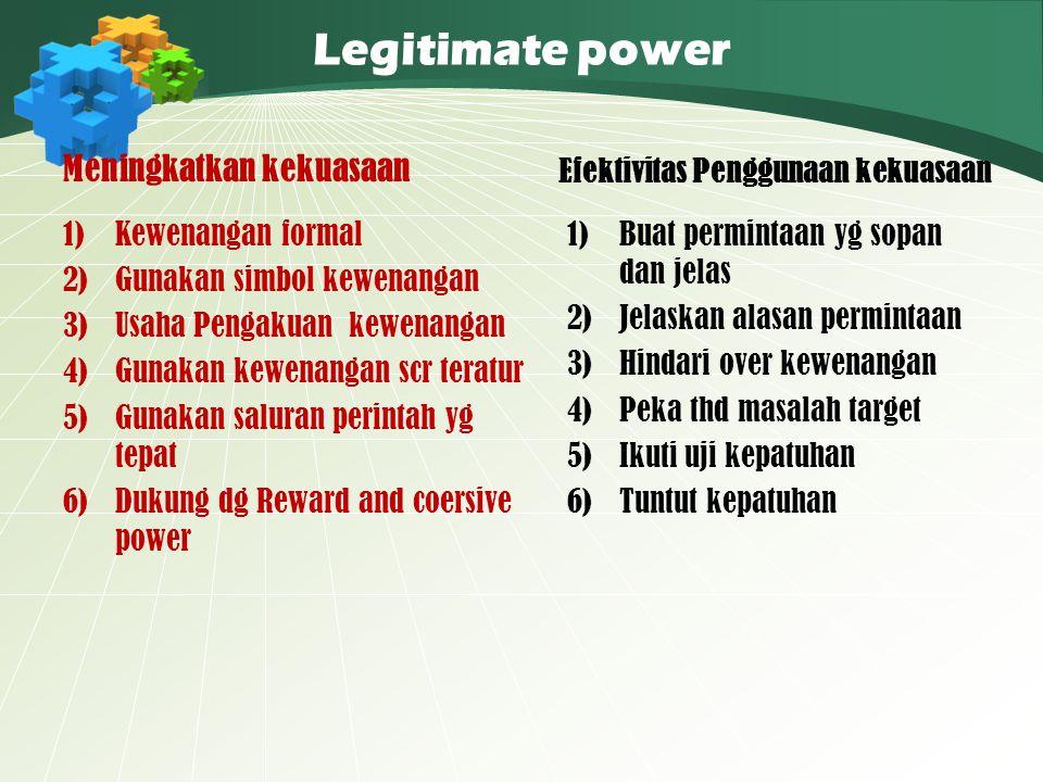 Legitimate power Meningkatkan kekuasaan 1)Kewenangan formal 2)Gunakan simbol kewenangan 3)Usaha Pengakuan kewenangan 4)Gunakan kewenangan scr teratur