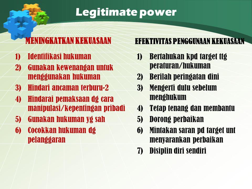 Legitimate power MENINGKATKAN KEKUASAAN 1)Identifikasi hukuman 2)Gunakan kewenangan untuk menggunakan hukuman 3)Hindari ancaman terburu-2 4)Hindarai p