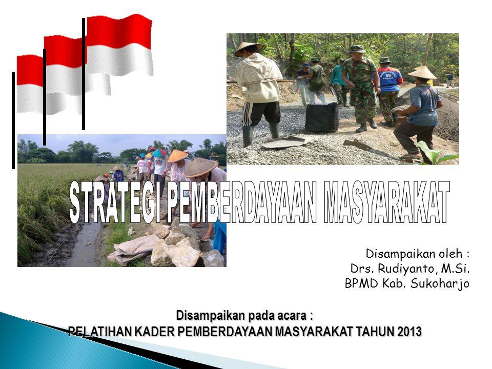 Disampaikan pada acara : PELATIHAN KADER PEMBERDAYAAN MASYARAKAT TAHUN 2013 Disampaikan oleh : Drs. Rudiyanto, M.Si. BPMD Kab. Sukoharjo