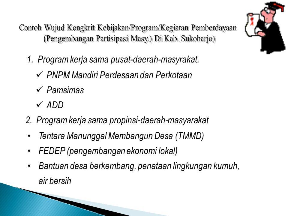 1.Program kerja sama pusat-daerah-masyrakat. PNPM Mandiri Perdesaan dan Perkotaan Pamsimas ADD Tentara Manunggal Membangun Desa (TMMD) FEDEP (pengemba