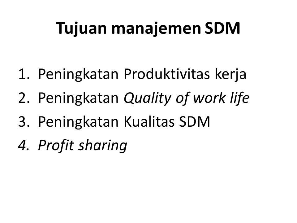 Tujuan manajemen SDM 1.Peningkatan Produktivitas kerja 2.Peningkatan Quality of work life 3.Peningkatan Kualitas SDM 4.Profit sharing