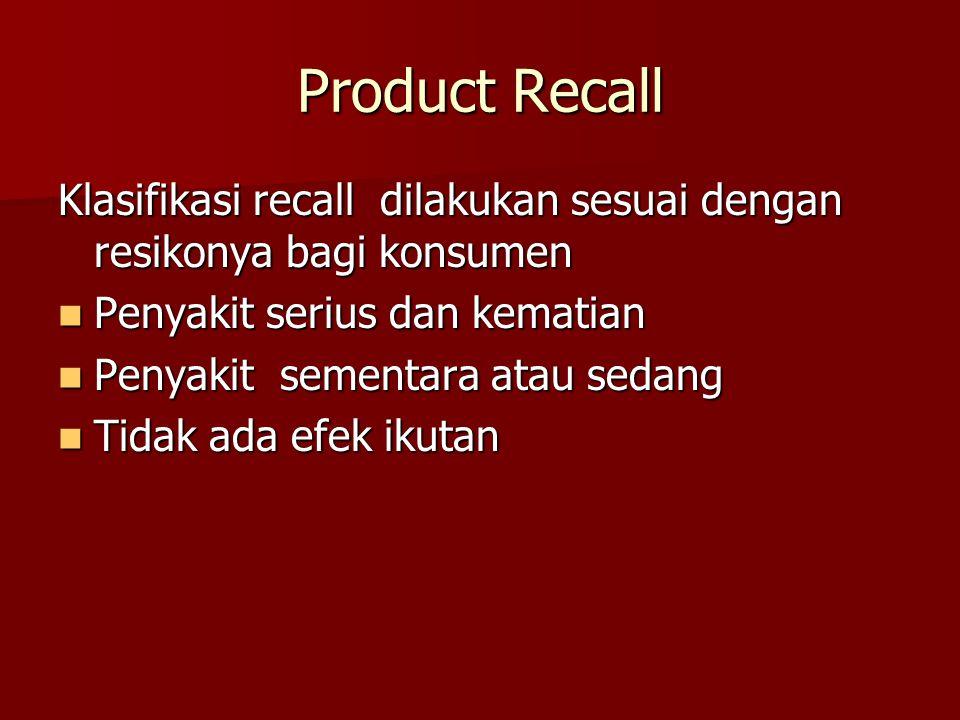 Product Recall Klasifikasi recall dilakukan sesuai dengan resikonya bagi konsumen Penyakit serius dan kematian Penyakit serius dan kematian Penyakit sementara atau sedang Penyakit sementara atau sedang Tidak ada efek ikutan Tidak ada efek ikutan