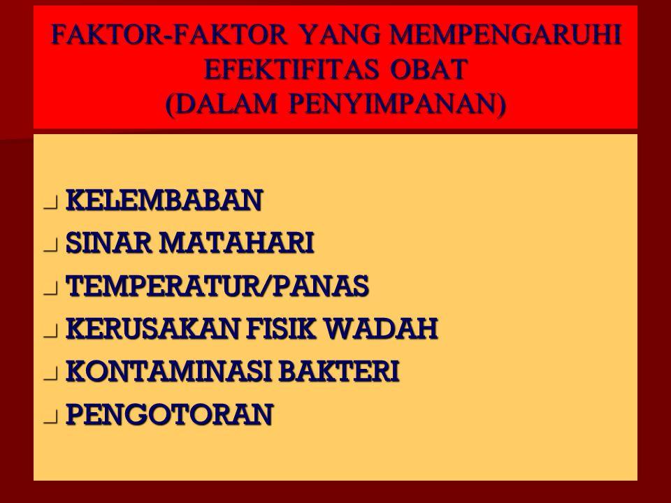 FAKTOR-FAKTOR YANG MEMPENGARUHI EFEKTIFITAS OBAT (DALAM PENYIMPANAN) KELEMBABAN KELEMBABAN SINAR MATAHARI SINAR MATAHARI TEMPERATUR/PANAS TEMPERATUR/PANAS KERUSAKAN FISIK WADAH KERUSAKAN FISIK WADAH KONTAMINASI BAKTERI KONTAMINASI BAKTERI PENGOTORAN PENGOTORAN