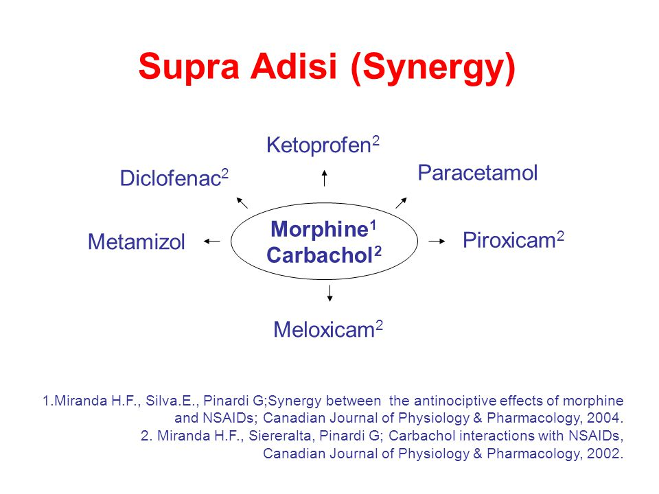 Morphine 1 Carbachol 2 Diclofenac 2 Ketoprofen 2 Meloxicam 2 Metamizol Paracetamol Supra Adisi (Synergy) Piroxicam 2 1.Miranda H.F., Silva.E., Pinardi