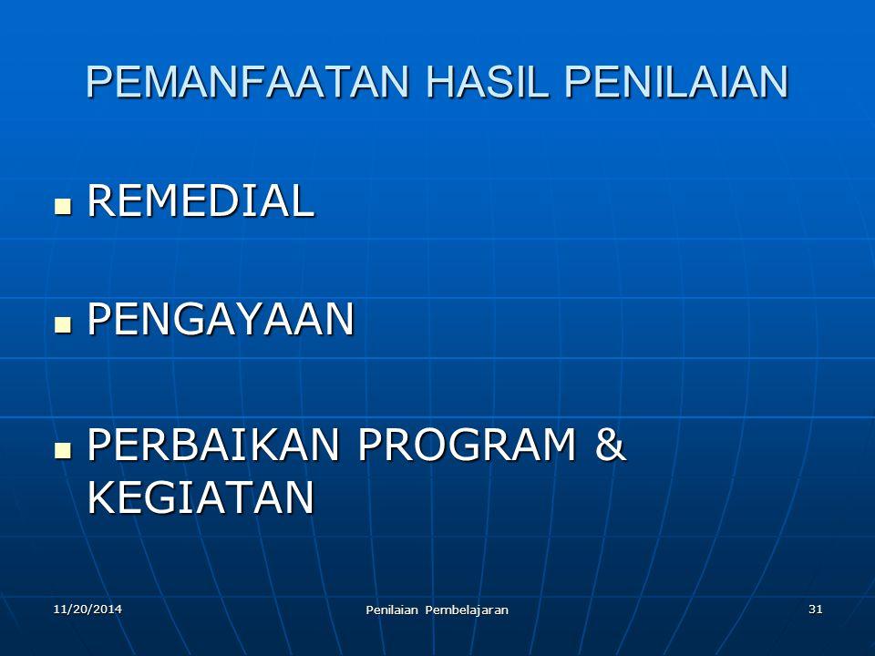 31 PEMANFAATAN HASIL PENILAIAN REMEDIAL REMEDIAL PENGAYAAN PENGAYAAN PERBAIKAN PROGRAM & KEGIATAN PERBAIKAN PROGRAM & KEGIATAN 11/20/2014 Penilaian Pe