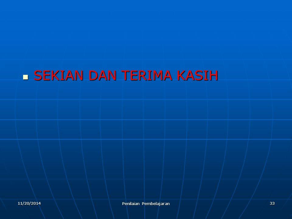 SEKIAN DAN TERIMA KASIH SEKIAN DAN TERIMA KASIH 3311/20/2014 Penilaian Pembelajaran