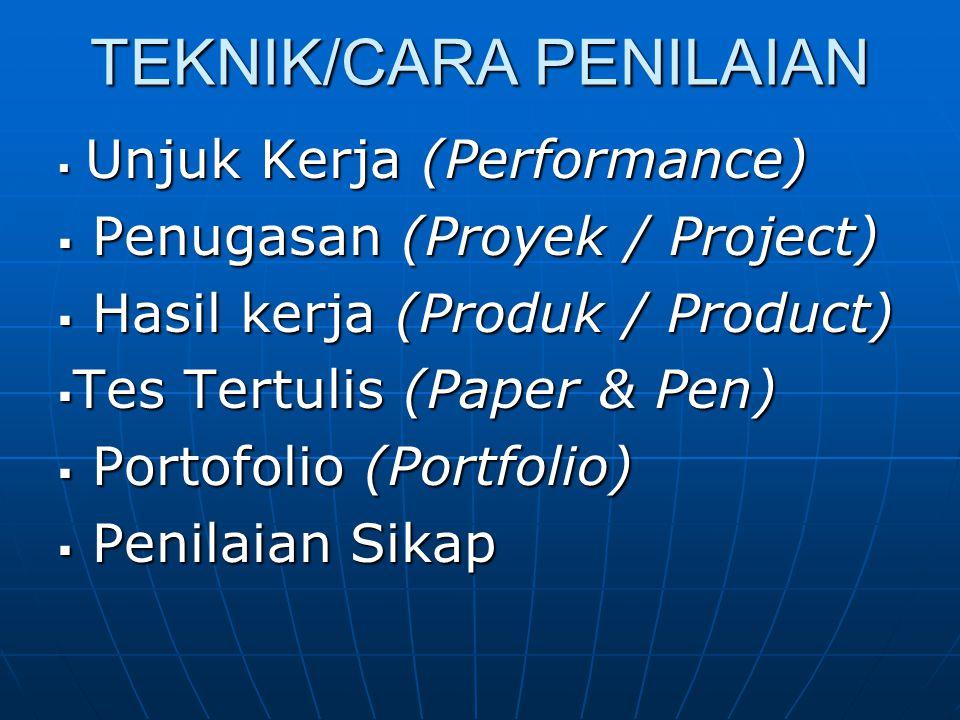 TEKNIK/CARA PENILAIAN  Unjuk Kerja (Performance)  Penugasan (Proyek / Project)  Hasil kerja (Produk / Product)  Tes Tertulis (Paper & Pen)  Porto
