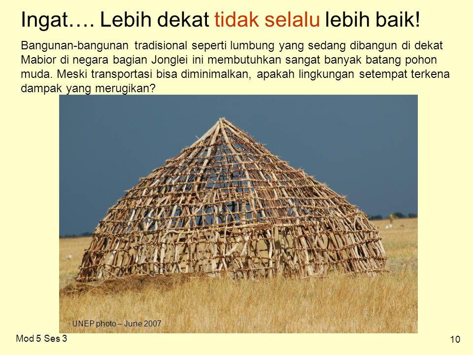 10 Mod 5 Ses 3 Bangunan-bangunan tradisional seperti lumbung yang sedang dibangun di dekat Mabior di negara bagian Jonglei ini membutuhkan sangat banyak batang pohon muda.