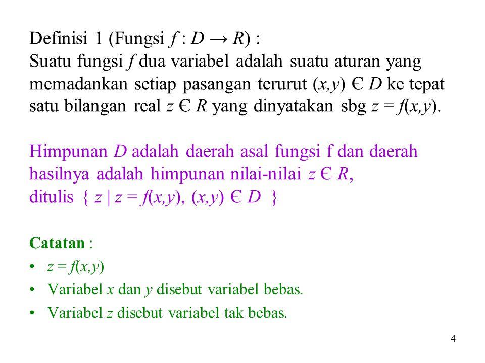 4 Definisi 1 (Fungsi f : D → R) : Suatu fungsi f dua variabel adalah suatu aturan yang memadankan setiap pasangan terurut (x,y) Є D ke tepat satu bila