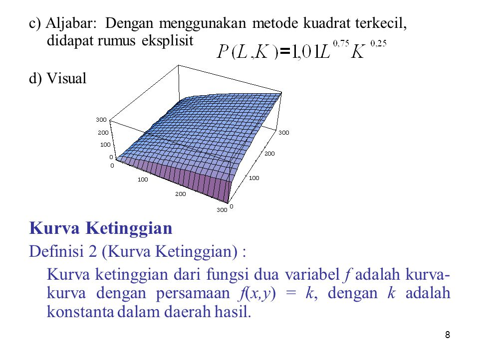 8 c) Aljabar: Dengan menggunakan metode kuadrat terkecil, didapat rumus eksplisit d) Visual Kurva Ketinggian Definisi 2 (Kurva Ketinggian) : Kurva ket