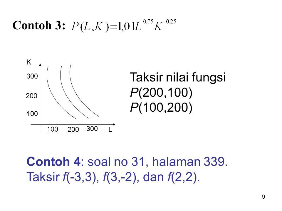 9 Contoh 3: 100 300 200 K 100 200 300 L Taksir nilai fungsi P(200,100) P(100,200) Contoh 4: soal no 31, halaman 339. Taksir f(-3,3), f(3,-2), dan f(2,