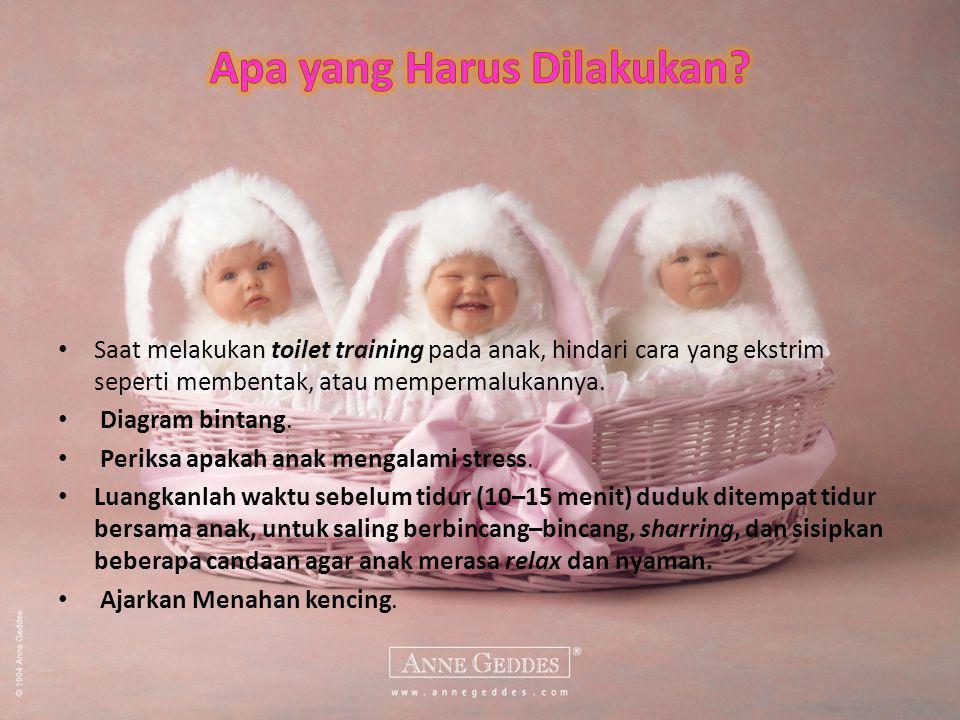 Saat melakukan toilet training pada anak, hindari cara yang ekstrim seperti membentak, atau mempermalukannya.