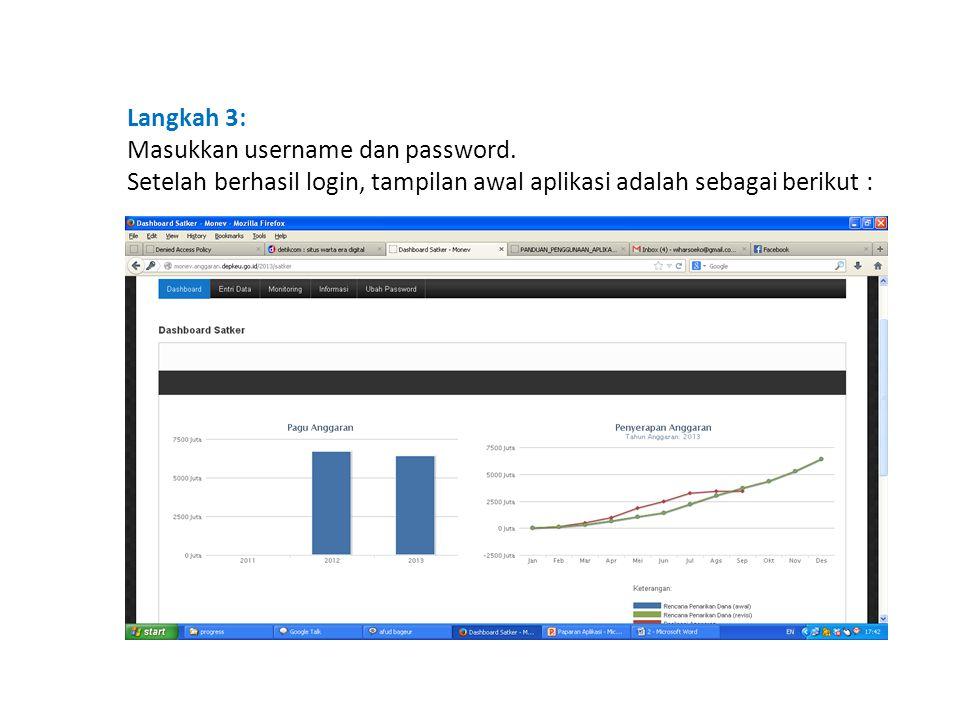 Langkah 3: Masukkan username dan password. Setelah berhasil login, tampilan awal aplikasi adalah sebagai berikut :
