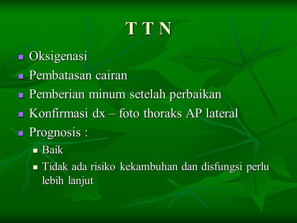 T T N Oksigenasi Oksigenasi Pembatasan cairan Pembatasan cairan Pemberian minum setelah perbaikan Pemberian minum setelah perbaikan Konfirmasi dx – fo
