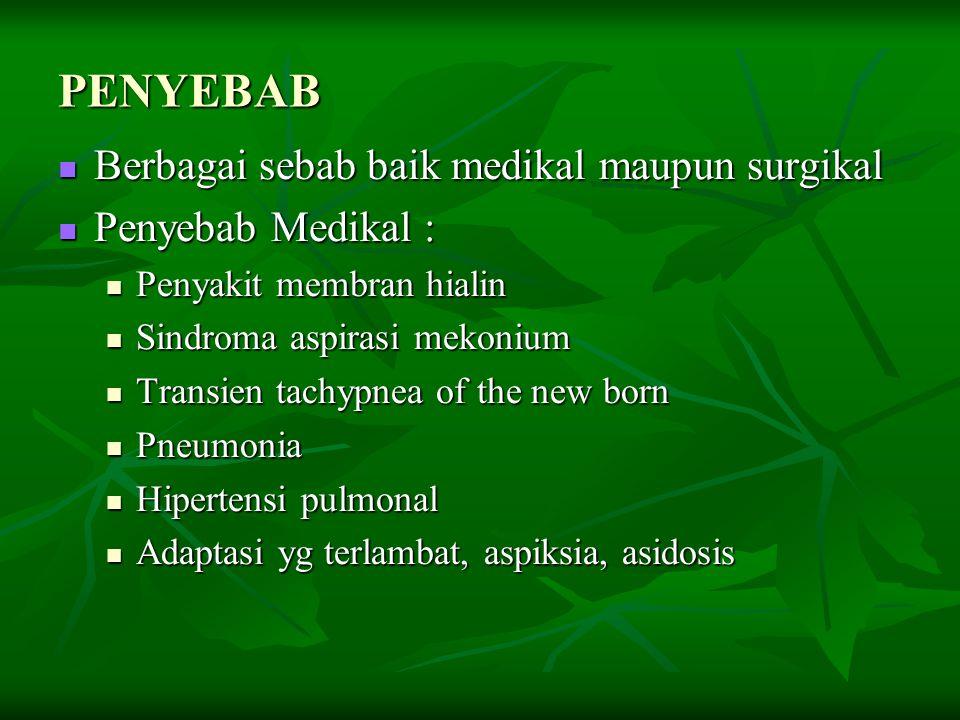 PENYEBAB Berbagai sebab baik medikal maupun surgikal Berbagai sebab baik medikal maupun surgikal Penyebab Medikal : Penyebab Medikal : Penyakit membra