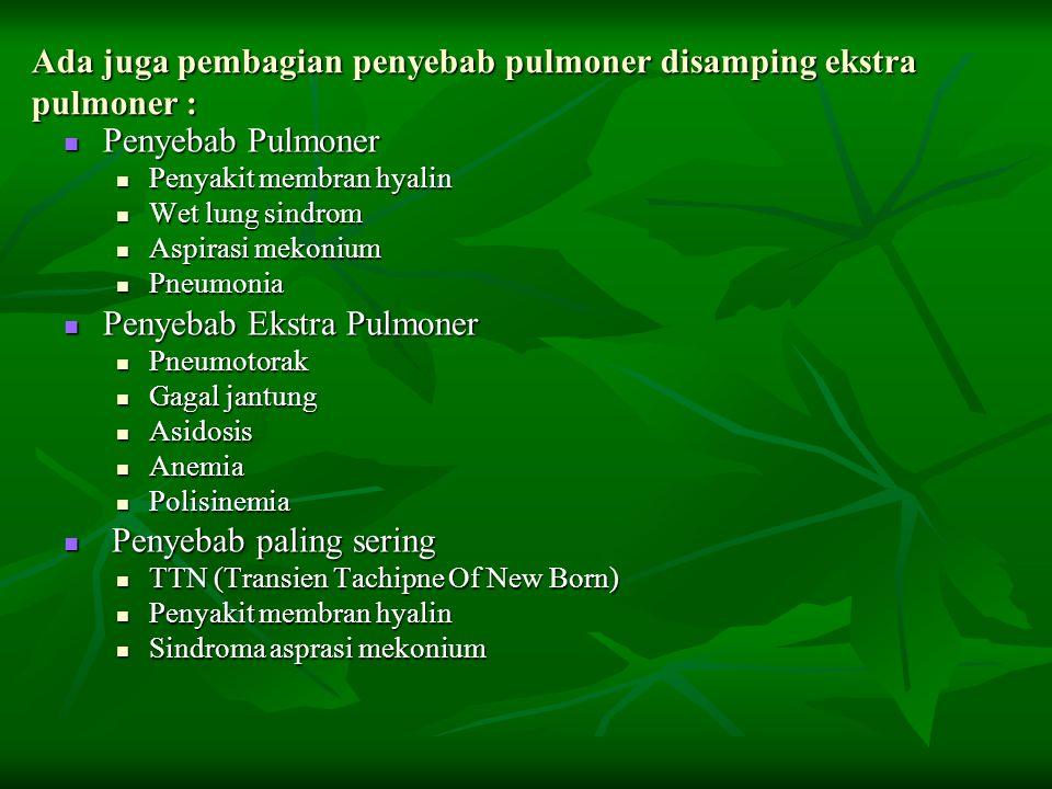 Ada juga pembagian penyebab pulmoner disamping ekstra pulmoner : Penyebab Pulmoner Penyebab Pulmoner Penyakit membran hyalin Penyakit membran hyalin W