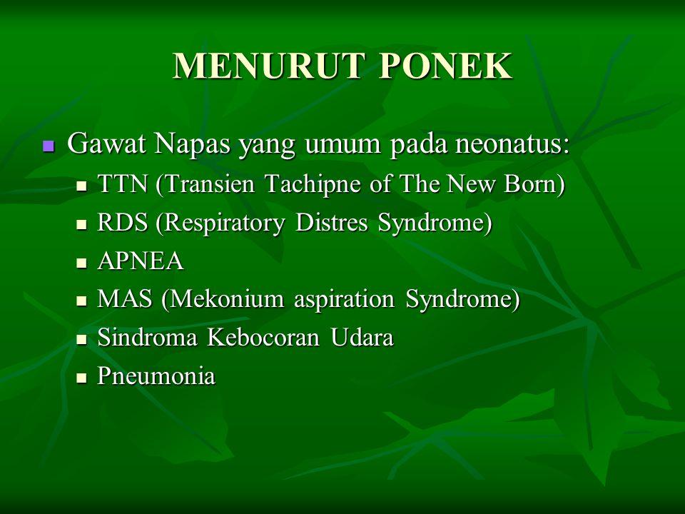 MENURUT PONEK Gawat Napas yang umum pada neonatus: Gawat Napas yang umum pada neonatus: TTN (Transien Tachipne of The New Born) TTN (Transien Tachipne