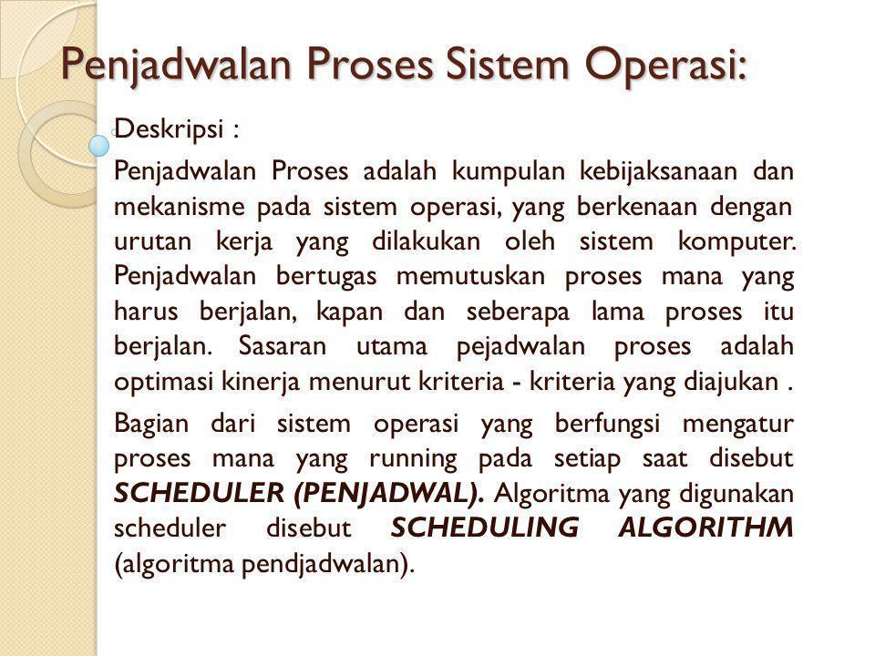 Penjadwalan Proses Sistem Operasi: Deskripsi : Penjadwalan Proses adalah kumpulan kebijaksanaan dan mekanisme pada sistem operasi, yang berkenaan dengan urutan kerja yang dilakukan oleh sistem komputer.