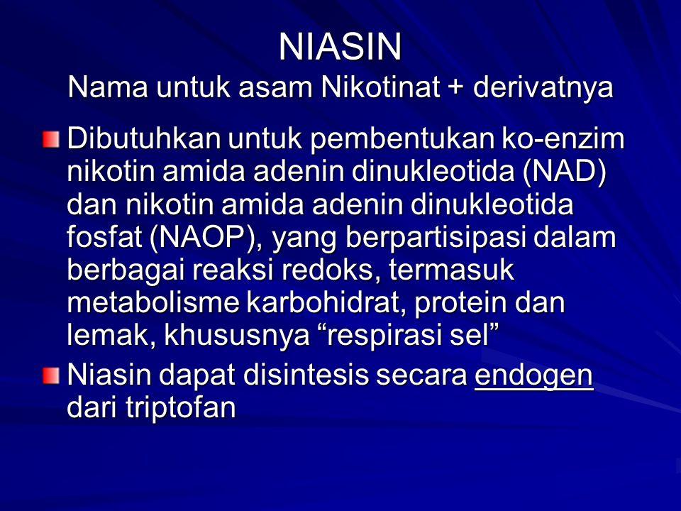 NIASIN Nama untuk asam Nikotinat + derivatnya Dibutuhkan untuk pembentukan ko-enzim nikotin amida adenin dinukleotida (NAD) dan nikotin amida adenin dinukleotida fosfat (NAOP), yang berpartisipasi dalam berbagai reaksi redoks, termasuk metabolisme karbohidrat, protein dan lemak, khususnya respirasi sel Niasin dapat disintesis secara endogen dari triptofan