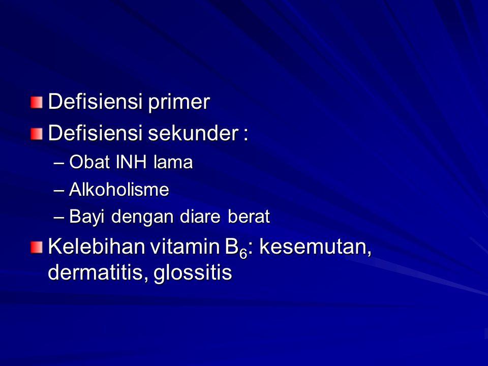 Defisiensi primer Defisiensi sekunder : –Obat INH lama –Alkoholisme –Bayi dengan diare berat Kelebihan vitamin B 6 : kesemutan, dermatitis, glossitis