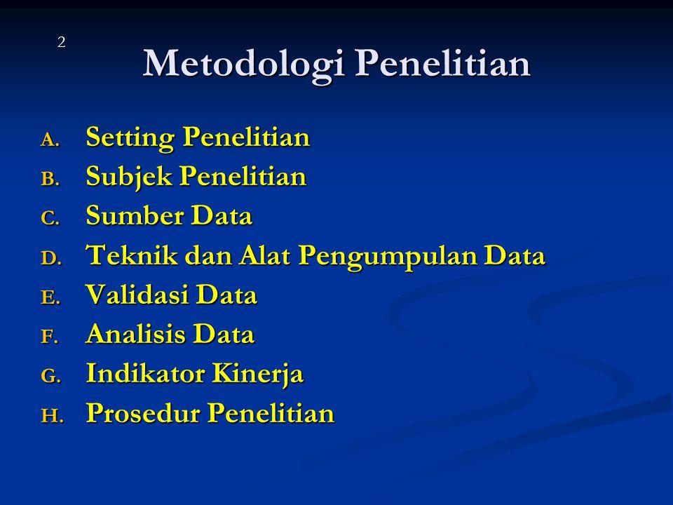 Metodologi Penelitian A. Setting Penelitian B. Subjek Penelitian C. Sumber Data D. Teknik dan Alat Pengumpulan Data E. Validasi Data F. Analisis Data