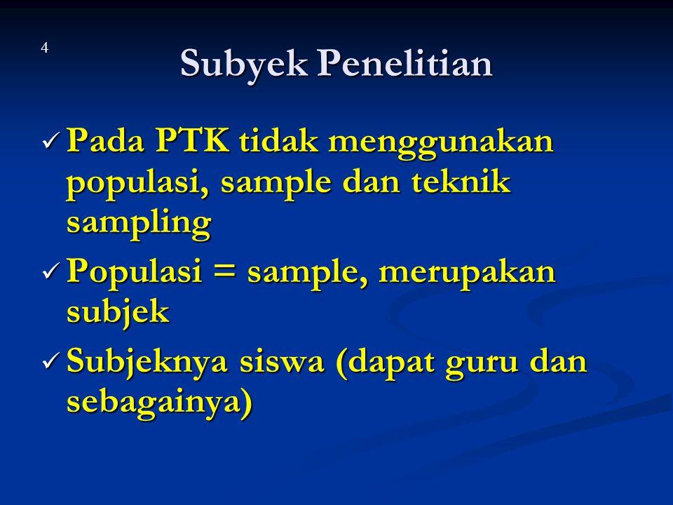 Subyek Penelitian Pada PTK tidak menggunakan populasi, sample dan teknik sampling Pada PTK tidak menggunakan populasi, sample dan teknik sampling Popu