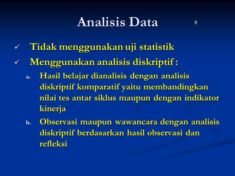 Analisis Data Tidak menggunakan uji statistik Tidak menggunakan uji statistik Menggunakan analisis diskriptif : Menggunakan analisis diskriptif : a. H