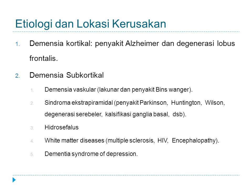 Etiologi dan Lokasi Kerusakan 1. Demensia kortikal: penyakit Alzheimer dan degenerasi lobus frontalis. 2. Demensia Subkortikal 1. Demensia vaskular (l