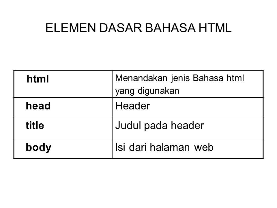 ELEMEN DASAR BAHASA HTML html Menandakan jenis Bahasa html yang digunakan headHeader titleJudul pada header bodyIsi dari halaman web