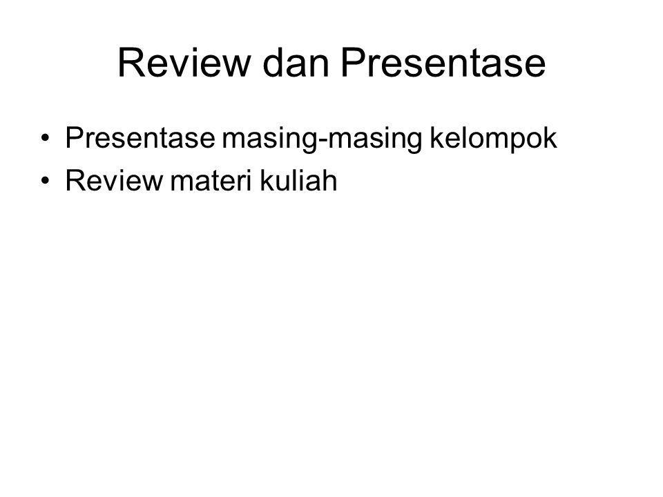 Review dan Presentase Presentase masing-masing kelompok Review materi kuliah
