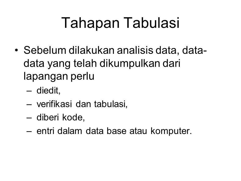 Tahapan Tabulasi Sebelum dilakukan analisis data, data- data yang telah dikumpulkan dari lapangan perlu – diedit, – verifikasi dan tabulasi, – diberi