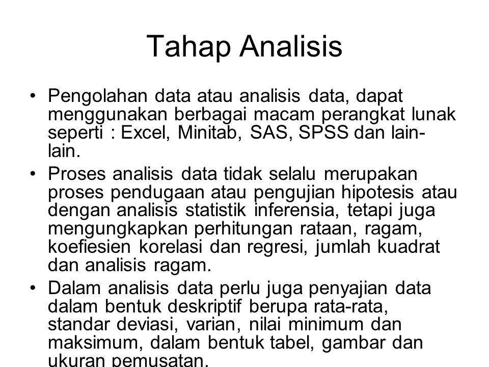 Tahap Analisis Pengolahan data atau analisis data, dapat menggunakan berbagai macam perangkat lunak seperti : Excel, Minitab, SAS, SPSS dan lain- lain