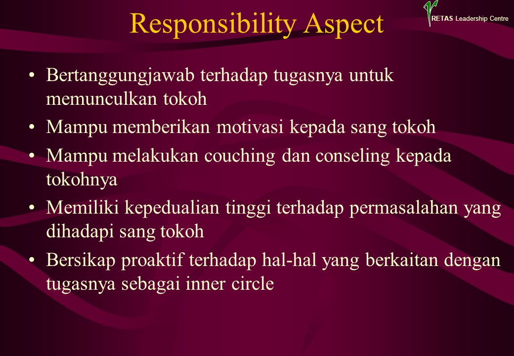 Responsibility Aspect Bertanggungjawab terhadap tugasnya untuk memunculkan tokoh Mampu memberikan motivasi kepada sang tokoh Mampu melakukan couching dan conseling kepada tokohnya Memiliki kepedualian tinggi terhadap permasalahan yang dihadapi sang tokoh Bersikap proaktif terhadap hal-hal yang berkaitan dengan tugasnya sebagai inner circle