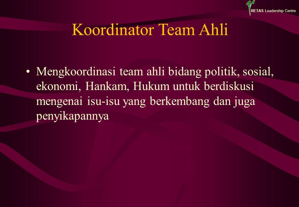 RETAS Leadership Centre Koordinator Team Ahli Mengkoordinasi team ahli bidang politik, sosial, ekonomi, Hankam, Hukum untuk berdiskusi mengenai isu-is