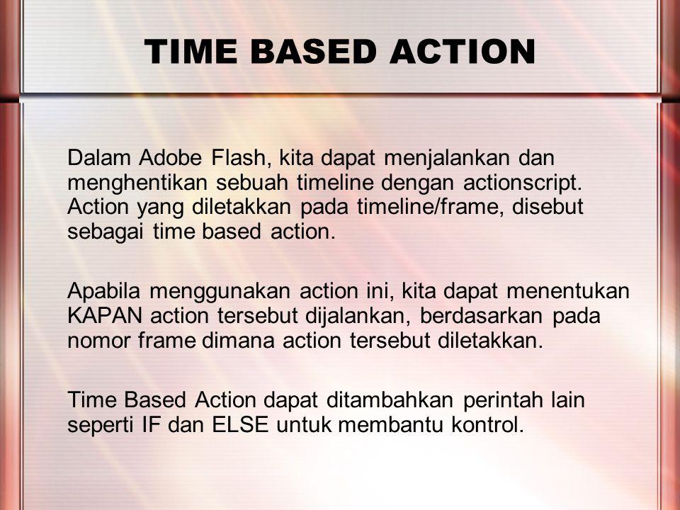 PERTEMUAN 2 TIME BASED ACTION Dalam Adobe Flash, kita dapat menjalankan dan menghentikan sebuah timeline dengan actionscript.
