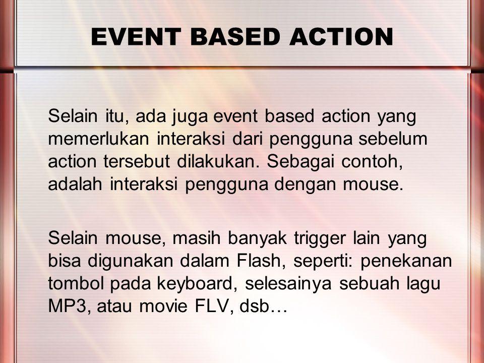 PERTEMUAN 2 EVENT BASED ACTION Selain itu, ada juga event based action yang memerlukan interaksi dari pengguna sebelum action tersebut dilakukan.