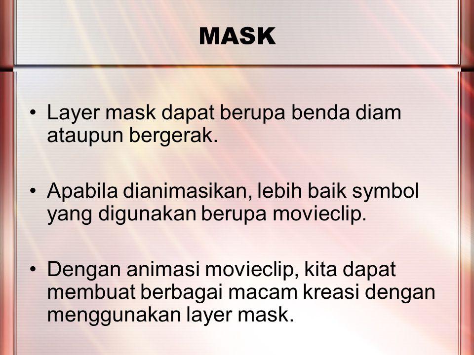 PERTEMUAN 2 MASK Layer mask dapat berupa benda diam ataupun bergerak.