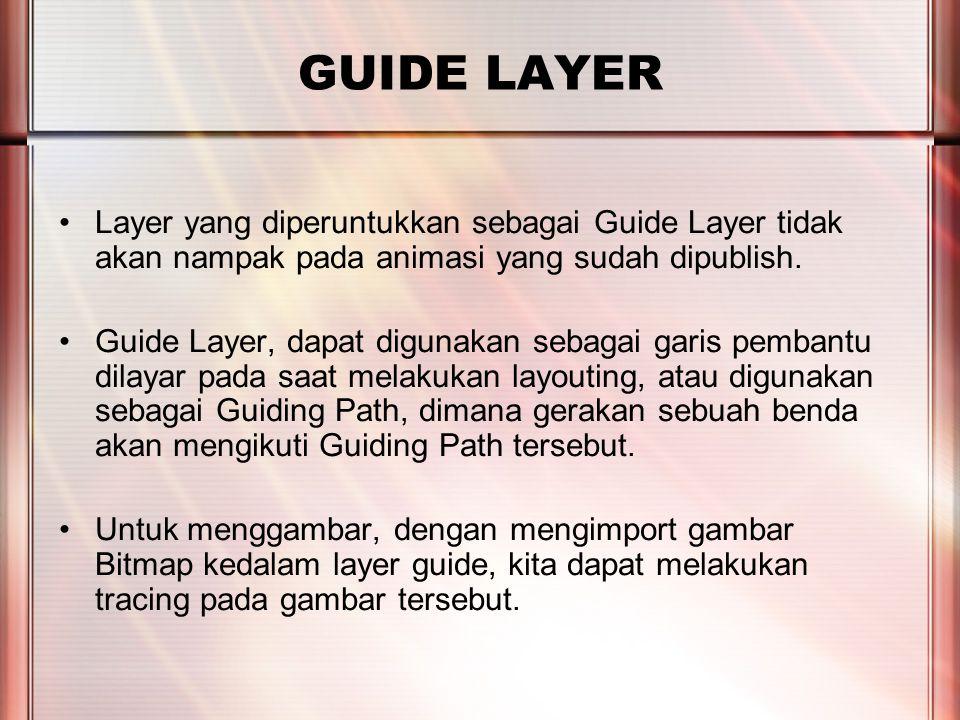 PERTEMUAN 2 GUIDE LAYER Layer yang diperuntukkan sebagai Guide Layer tidak akan nampak pada animasi yang sudah dipublish.