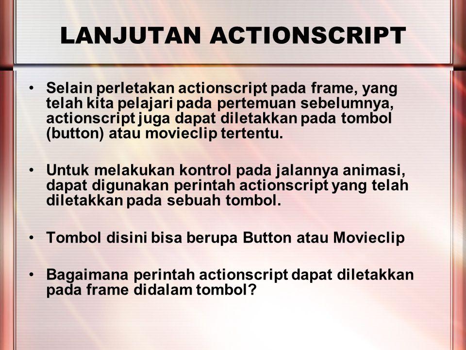 PERTEMUAN 2 LANJUTAN ACTIONSCRIPT Selain perletakan actionscript pada frame, yang telah kita pelajari pada pertemuan sebelumnya, actionscript juga dapat diletakkan pada tombol (button) atau movieclip tertentu.