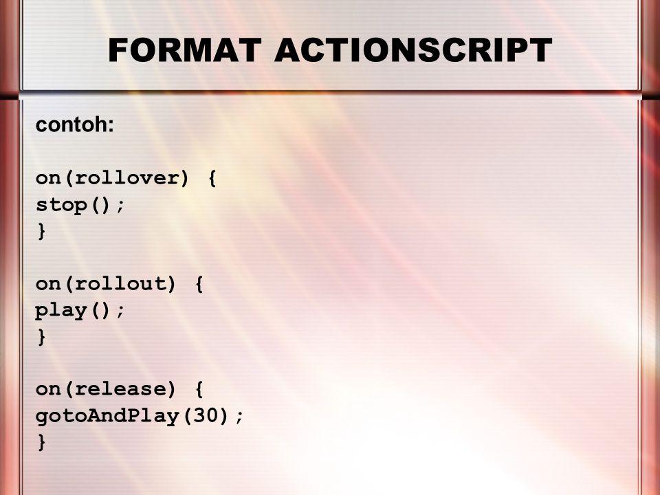 PERTEMUAN 2 FORMAT ACTIONSCRIPT Pada pertemuan sebelumnya, kita telah mengenal bagaimana cara penulisan nama instance dalam actionscript Selain nama instance, dapat juga digunakan penanda lain, yang dikenal sebagai 'identifiers' Identifiers yang umum digunakan selain nama adalah: _root _parent this _level0
