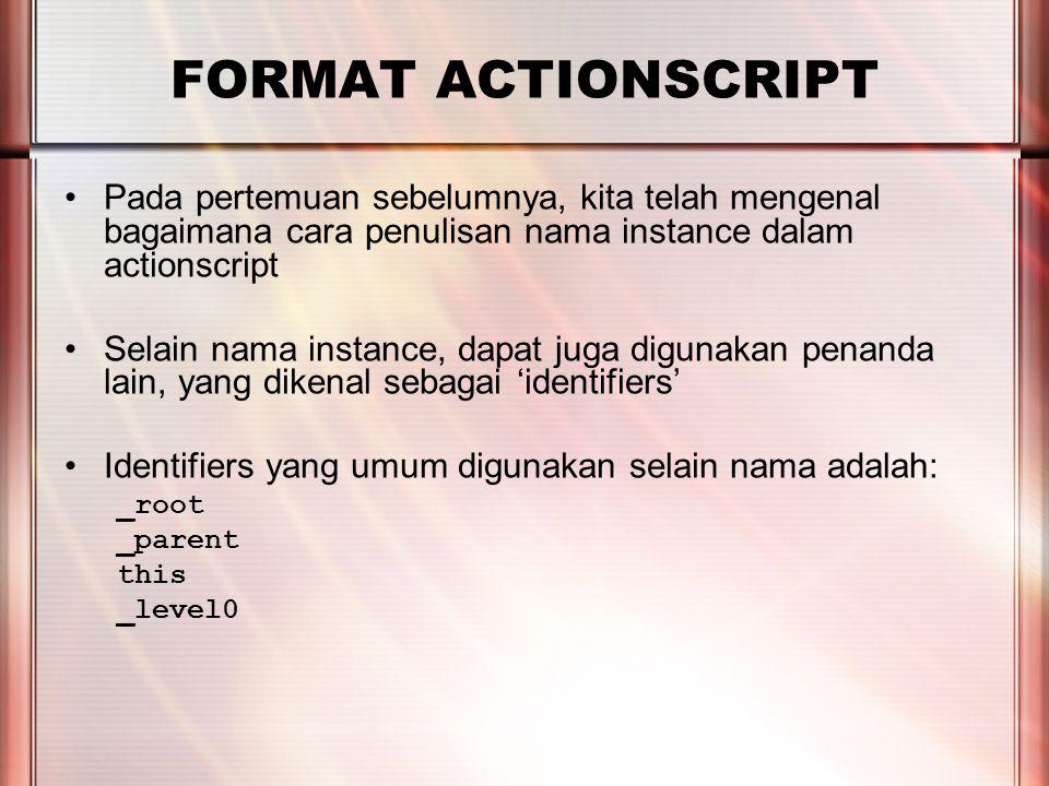 PERTEMUAN 2 FORMAT ACTIONSCRIPT Perhatikan penggunaan ; pada akhir perintah, apabila kita hendak meletakkan beberapa perintah secara berurutan pada sebuah frame/symbol, maka tanda tersebut digunakan untuk membedakan antara satu perintah dengan perintah selanjutnya.