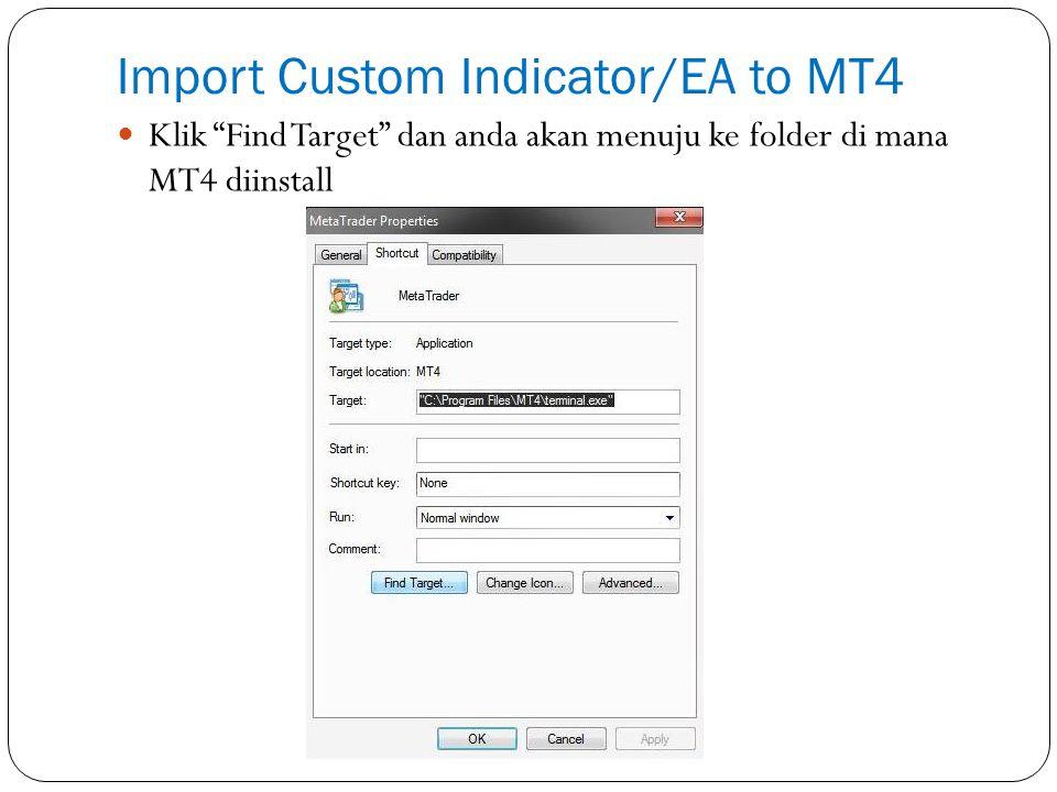 Import Custom Indicator/EA to MT4 Klik Find Target dan anda akan menuju ke folder di mana MT4 diinstall