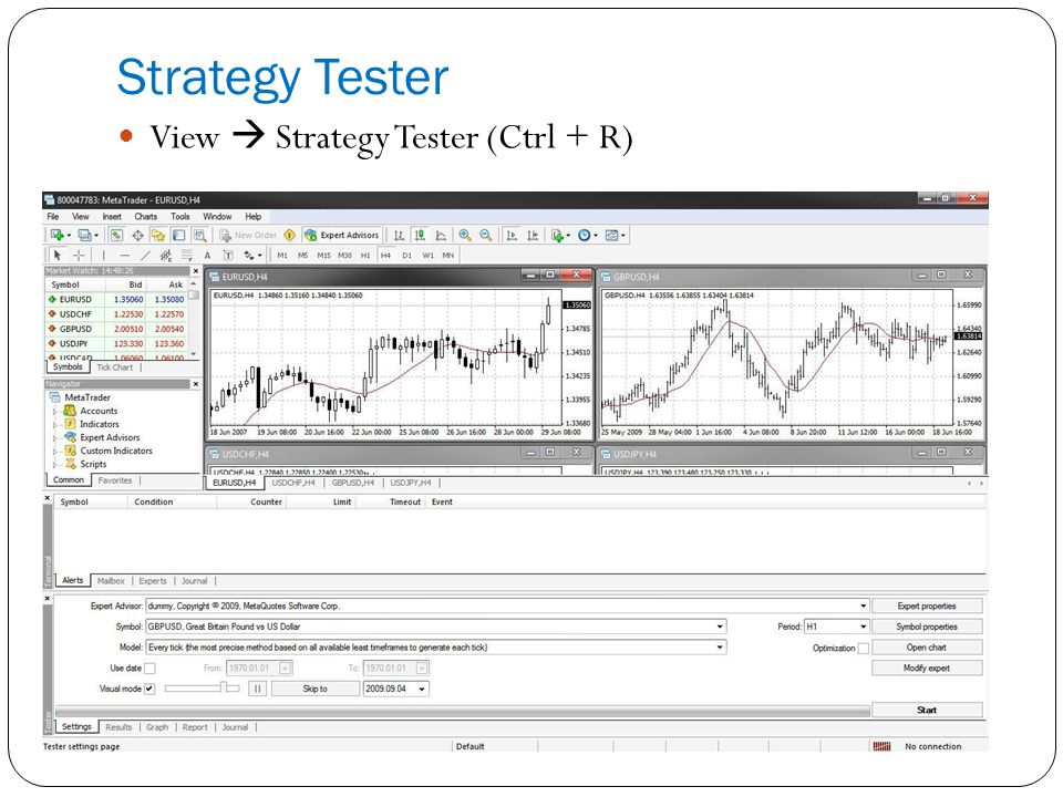 Strategy Tester View  Strategy Tester (Ctrl + R)