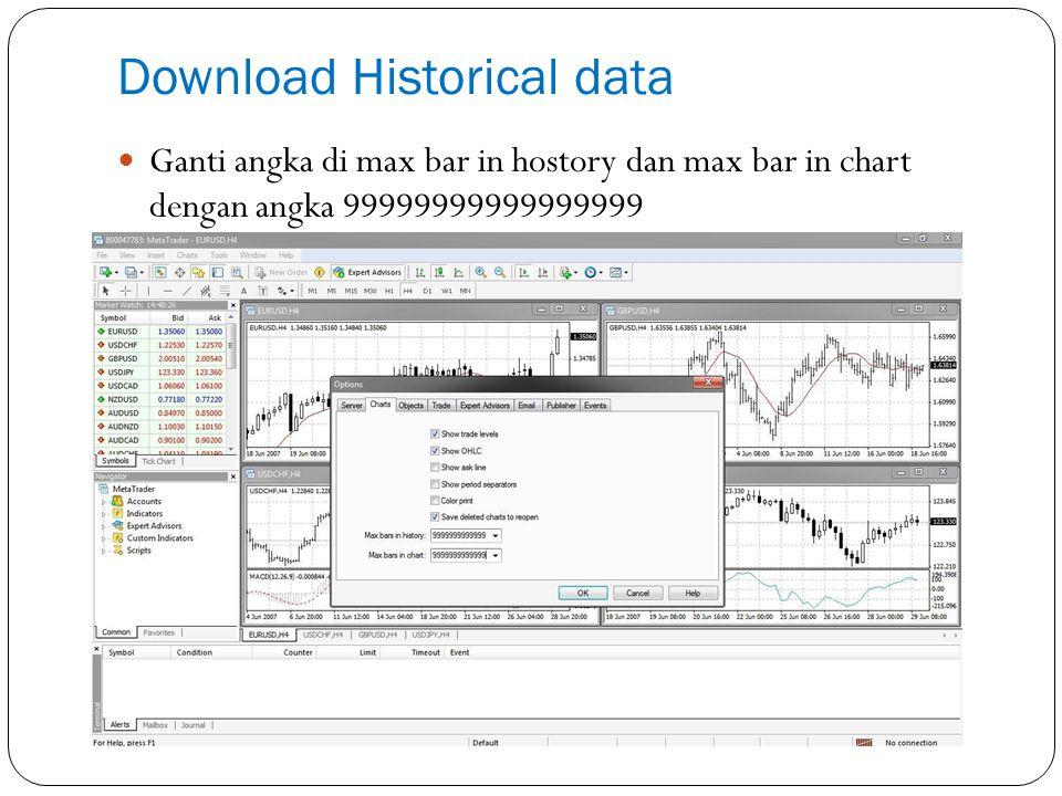 Download Historical data Masuk ke Tools  History Center (Atau Pencet F2)